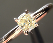 Yellow Diamond Ring: .35ct Fancy Yellow VS2 Cushion Cut Diamond Ring R6966