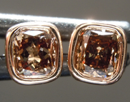 SOLD......Brown Diamond Earrings: .54ctw Fancy Brownish Yellow VS1 Cushion Cut Diamond Earrings R7001