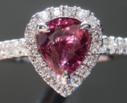 SOLD...Ruby Ring: 1.20ct Pear Shape Ruby and Diamond Halo Ring R7014