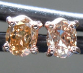 SOLD..Brown Diamond Earrings: .32ctw Fancy Orangy Brown SI1 Oval Diamond Earrings R7011