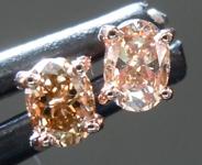 Brown Diamond Earrings: .41ctw Fancy Orangy Brown SI1 Oval Diamond Earrings R7009