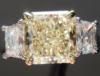 SOLD....Yellow Diamond Ring: 1.89ct W-X SI2 Radiant Cut Three Stone Diamond Ring GIA R1041