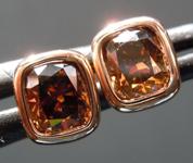 SOLD........Brown Diamond Earrings: 1.00ctw Fancy Orangy Brown SI Cushion Cut Diamond Earrings R7038