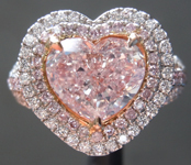 Pink Diamond Ring: 1.55ct Fancy Pink VS2 Heart Shape Diamond Halo Ring GIA R7085