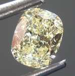 Loose Yellow Diamond: .51ct Fancy Light Yellow VVS1 Cushion Cut Diamond GIA R6899