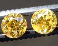 Loose Yellow Diamonds: 1.27ctw Fancy Vivid Yellow I1-2 Round Brilliant Diamonds GIA R7067