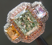 2.46ct Light Yellow-Green SI2 Radiant Cut Diamond Ring R7102