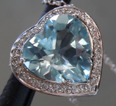 Aquamarine Pendant:  1.84ct Heart Shape Aquamarine and Diamond Halo Pendant R7054