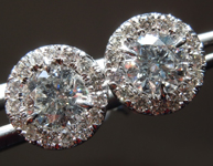 Diamond Earrings: 1.14ctw Colorless Round Brilliant Diamond Halo Earrings R7078