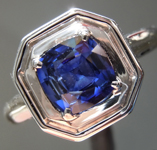 1.19ct Blue Cushion Cut Sapphire Ring R7020