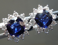 Sapphire Earrings: 2.06cts Blue Cushion Cut Sapphire and Diamond Halo Earrings R7021