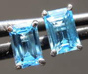 SOLD....1.35ctw Blue Emerald Cut Topaz Earrings R7006