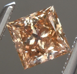 Loose Brown Diamond: .48ct Fancy Yellow Orangy Brown SI2 Princess Cut Diamond R6998
