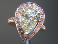 Diamond Halo Ring: 2.16ct K/VS2 Pear Cut diamond GIA 18K Rose Gold R1321