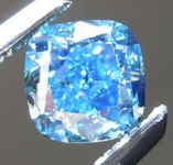 Loose Blue Diamond: .50ct Fancy Vivid Blue-Green SI2 Cushion Modified Brilliant Diamond GIA R7203