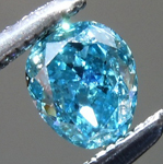 Loose Blue Diamond: .44ct Fancy Vivid Green-Blue SI2 Pear Modified Brilliant Diamond GIA R7202