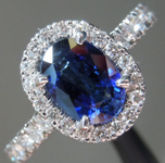 Blue Sapphire Ring: 1.31ct Blue Oval Shape Sapphire and Diamond Halo Ring R7028