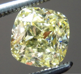 Loose Yellow Diamond: .91ct Fancy Yellow SI2 Cushion Modified Brilliant Diamond GIA R7241