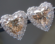 SOLD.......Brown Diamond Earrings: 2.20cts Fancy Light Yellowish Brown Heart Shape Diamond Halo Earrings R7076