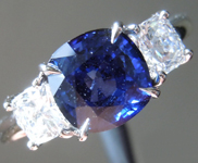 SPECIAL!!!!1.95ct Blue Cushion Cut Sapphire Ring R7166