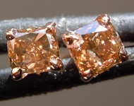 SOLD.........Brown Diamond Earrings: .32ctw Fancy Brownish Yellow SI1 Cushion Cut Diamond Earrings R7193