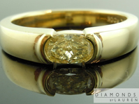 Gents Diamond Ring: .73ct Fancy Yellow SI2 Oval Shape Diamond Gents Ring GIA R7279