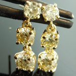 SOLD.......Yellow Diamond Earrings: 1.90ctw S-T VS-SI Round Brilliant Diamond Dangle Earrings R7312