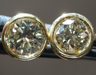 SOLD...Diamond Earrings: .88ctw Fancy Light Greenish Yellow SI1 Round Brilliant Diamond Earrings R7326
