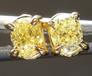SOLD......Yellow Diamond Earrings: .30ctw Fancy Intense Yellow VS Cushion Cut Diamond Earrings R7349