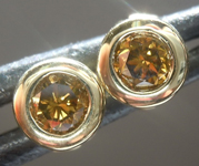 SOLD.....Diamond Earrings: .33ctw Fancy Greenish Brown Yellow SI1 Round Brilliant Diamond Earrings R7385