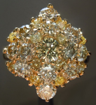Yellow Diamond Ring: 3.49ctw Natural Yellow Round Brilliant Cluster Diamond Ring R7322