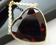 SOLD....Garnet Necklace: 8.95ct Heart Shape Garnet Bezel Set Necklace R7055