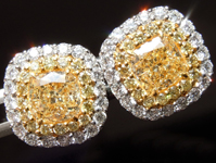 Yellow Diamond Earrings: 3.65ctw Natural Yellow and Colorless Diamond Halo Earrings GIA R7451