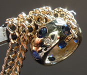SOLD.....Necklace: 1.16ctw Diamond and Blue Sapphire Round Brilliant Necklace R7436