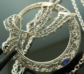 Diamond Pendant: Vintage Diamond and Blue Sapphire Necklace R5972