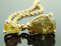 SOLD...Diamond Pendant: .57ct Fancy Deep Greenish Yellow SI2 Pear Shape Diamond Pendant R7390