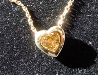 SOLD.......Diamond Pendant: .45ct Fancy Deep Yellow Brown SI2 Heart Shape Diamond Pendant R7404
