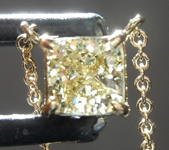 SOLD......Yellow Diamond Pendant: .43ct Fancy Greenish Yellow VS2 Cushion Cut Diamond Pendant R7396