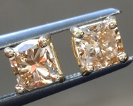 Brown Diamond Earrings: 1.00ctw Fancy Yellow Brown Cushion Cut Diamond Earrings R7545