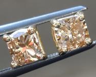 Brown Diamond Earrings: 1.00ctw Fancy Yellow Brown Cushion Cut Diamond Earrings R7545