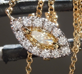 SOLD.........Diamond Necklace: .18ct Fancy Orangy Yellow SI1 Marquise Diamond Halo Necklace R7318