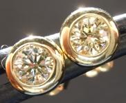 Yellow Diamond Earrings: .41ctw Fancy Light Greenish Yellow SI1 Round Brilliant Diamond Earrings R7593