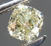 Loose Yellow Diamond: .51ct Fancy Greenish Yellow VS1 Cushion Cut Diamond R7614