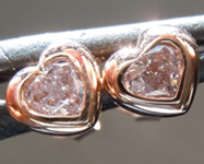 Pink Diamond Earrings: .39ctw Light Pink SI2 Heart Shape Diamond Stud Earrings R7591