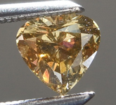 Loose Brown Diamond: .50ct Fancy Deep Yellow Brown SI2 Heart Shape Cut Diamond R7619