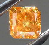 Loose Orange Diamond: .28ct Fancy Deep Brown Orange I1 Radiant Cut Cut Diamond R7621
