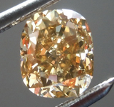 Loose Brown Diamond: .84ct Fancy Yellow Brown SI1 Cushion Cut Diamond GIA R7569