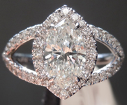 Colorless Diamond Ring: 1.04ct I SI2 Marquise Diamond Halo Ring GIA R7643