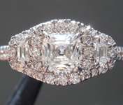 Colorless Diamond Ring: .64ct F VVS2 Cushion Modified Brilliant Diamond Halo Ring GIA R7644