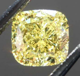 Loose Yellow Diamond: 1.01ct Fancy Intense Yellow SI2 Cushion Cut Diamond GIA R7669